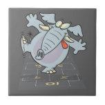 silly cute hopscotch elephant toon ceramic tile