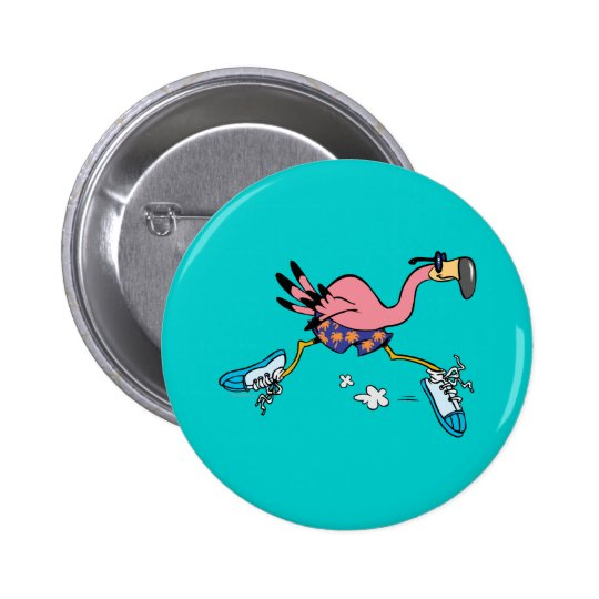 silly cute jogging running flamingo button