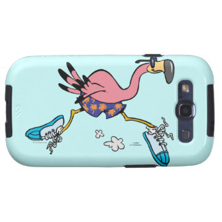 silly cute jogging running flamingo galaxy SIII case