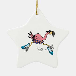 silly cute jogging running flamingo ceramic ornament