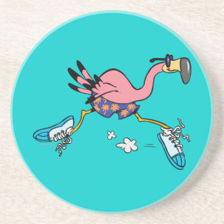 silly cute jogging running flamingo coaster