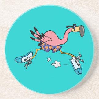 silly cute jogging running flamingo drink coaster