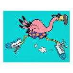 "silly cute jogging running flamingo 8.5"" x 11"" flyer"