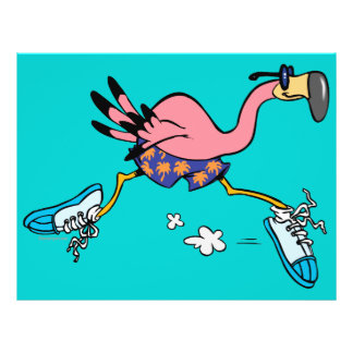 silly cute jogging running flamingo flyer