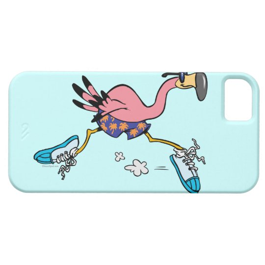 silly cute jogging running flamingo iPhone SE/5/5s case