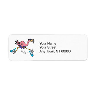silly cute jogging running flamingo return address label