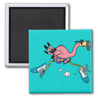 silly cute jogging running flamingo magnet