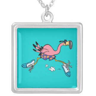 silly cute jogging running flamingo pendants