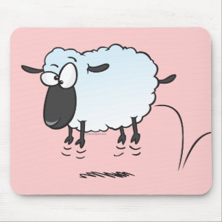silly cute leaping lamb sheep cartoon mouse pad