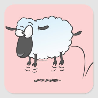 silly cute leaping lamb sheep cartoon square sticker