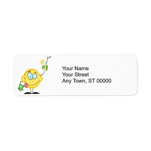 silly cute lemon cartoon drinking lemonade label