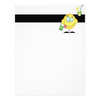 silly cute lemon cartoon drinking lemonade letterhead