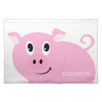 Silly Cute Pink Pig Girls Personalized Placemat