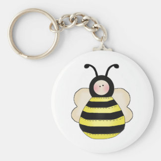 silly cute round bumble bee basic round button keychain