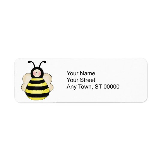 silly cute round bumble bee label