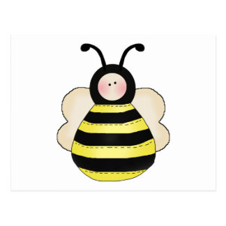 silly cute round bumble bee postcard