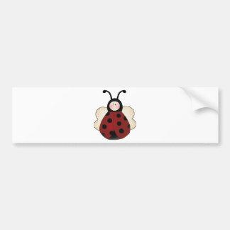 silly cute round ladybug cartoon bumper sticker