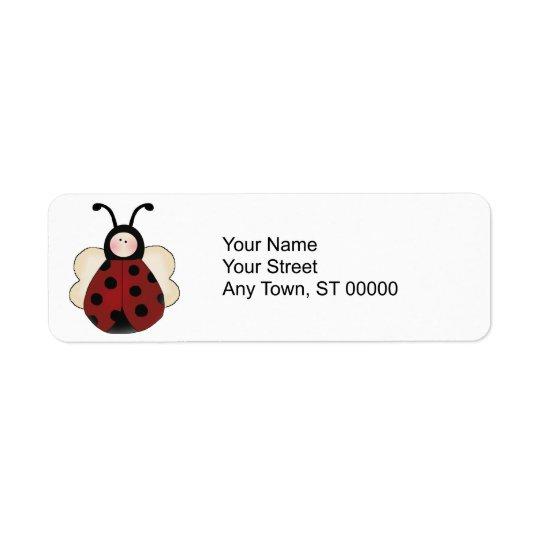 silly cute round ladybug cartoon label