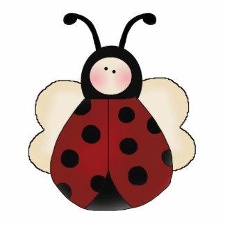 silly cute round ladybug cartoon standing photo sculpture