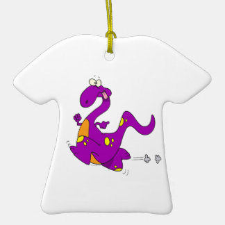 silly cute running purple dino dinosaur cartoon Double-Sided T-Shirt ceramic christmas ornament