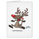 silly cute running reindeer greeting card