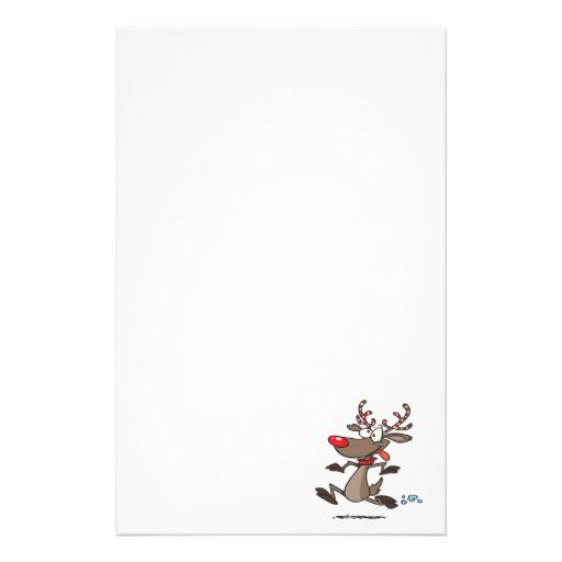 silly cute running rudolph reindeer customized stationery