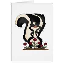 silly cute skunk and red roses