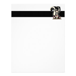 silly cute skunk and red roses letterhead