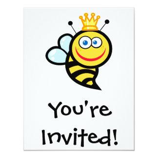 silly cute smiling queen bee cartoon card