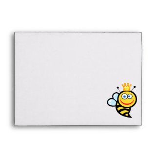 silly cute smiling queen bee cartoon envelope