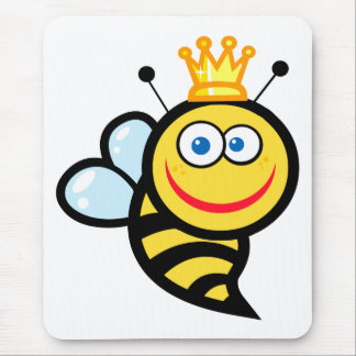 silly cute smiling queen bee cartoon mouse pad