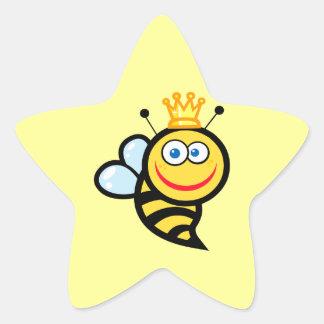 silly cute smiling queen bee cartoon sticker