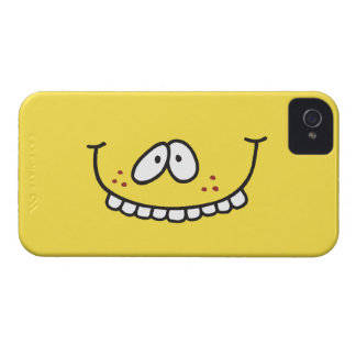 silly cute toothy yellow smiley face iPhone 4 cases