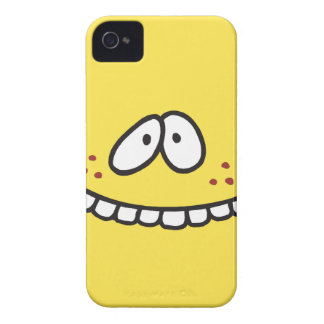 silly cute toothy yellow smiley face Case-Mate iPhone 4 cases