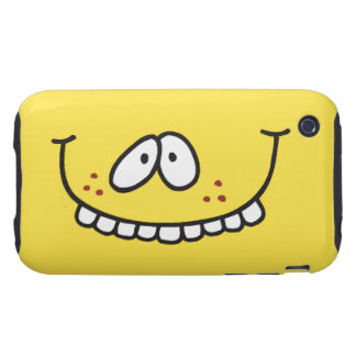silly cute toothy yellow smiley face tough iPhone 3 case