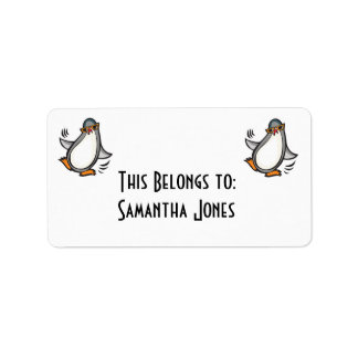 silly dancing penguin label