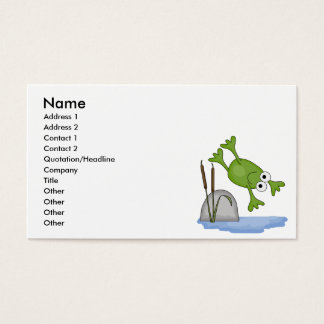 silly diving frog business card
