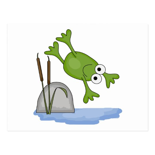 silly diving frog postcard