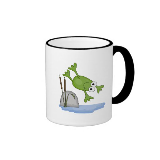 silly diving frog ringer coffee mug