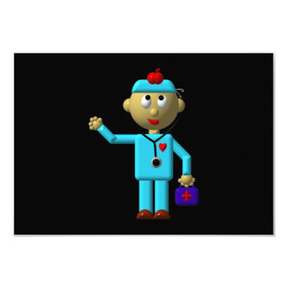 Silly Doctor with Apple on his head & Medical Bag Card