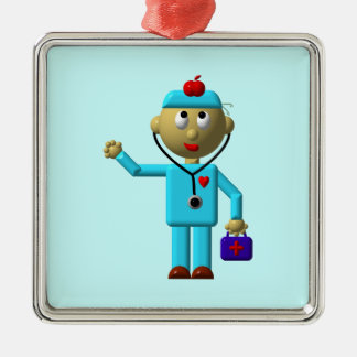 Silly Doctor with Apple on his head & Medical Bag Metal Ornament