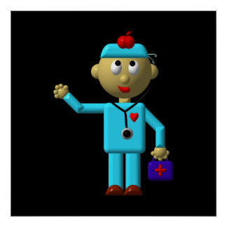 Silly Doctor with Apple on his head & Medical Bag Poster