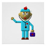 Silly Doctor with Apple on his head & Medical Bag Posters
