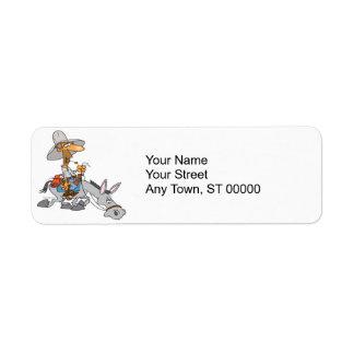 silly donkey rider cartoon label