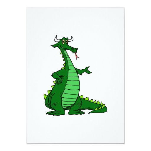 Silly Dragon Green 5x7 Paper Invitation Card
