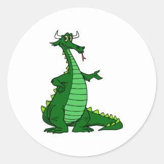 Silly Dragon Green Classic Round Sticker