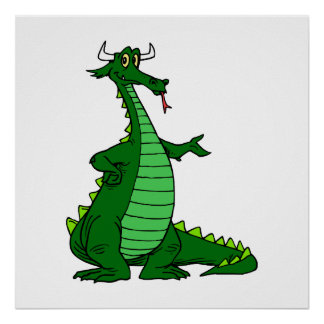 Silly Dragon Green Poster