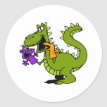 Silly Dragon with Sock Puppets Round Stickers