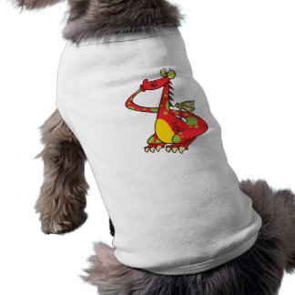 silly dragon with tail in mouth dog tee shirt