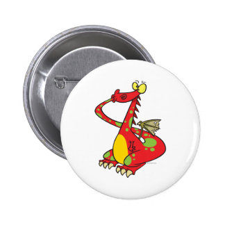 silly dragon with tail in mouth pinback button